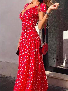 Fashion Polka Dot Deep V Belted Short Sleeve Maxi Dresses