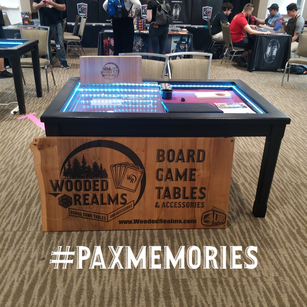 2nd Breakfast board game table and Wooded Realms at PAX West 2018