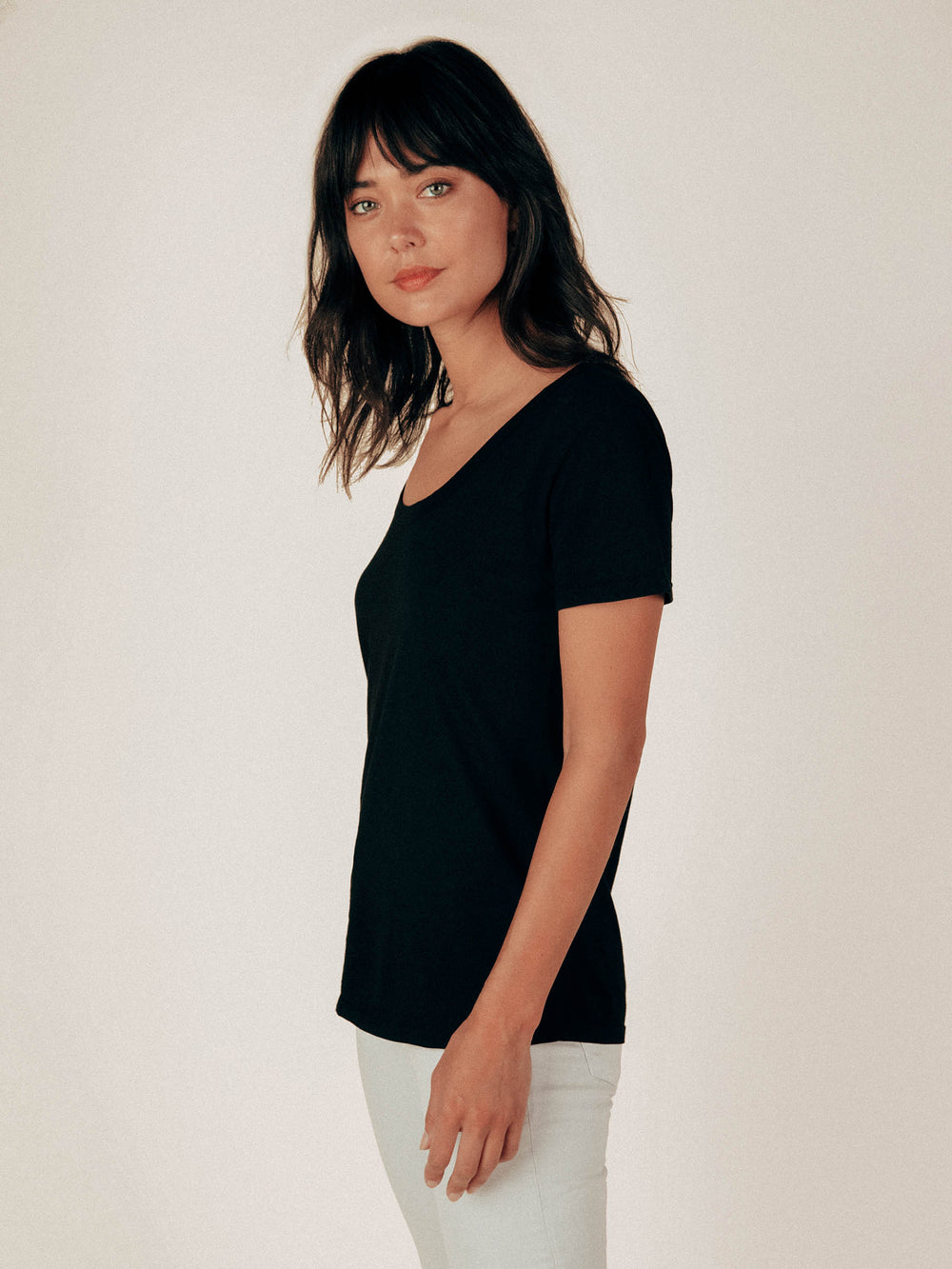 Black Scoop Neck Curved Hem Tee - Graceful District
