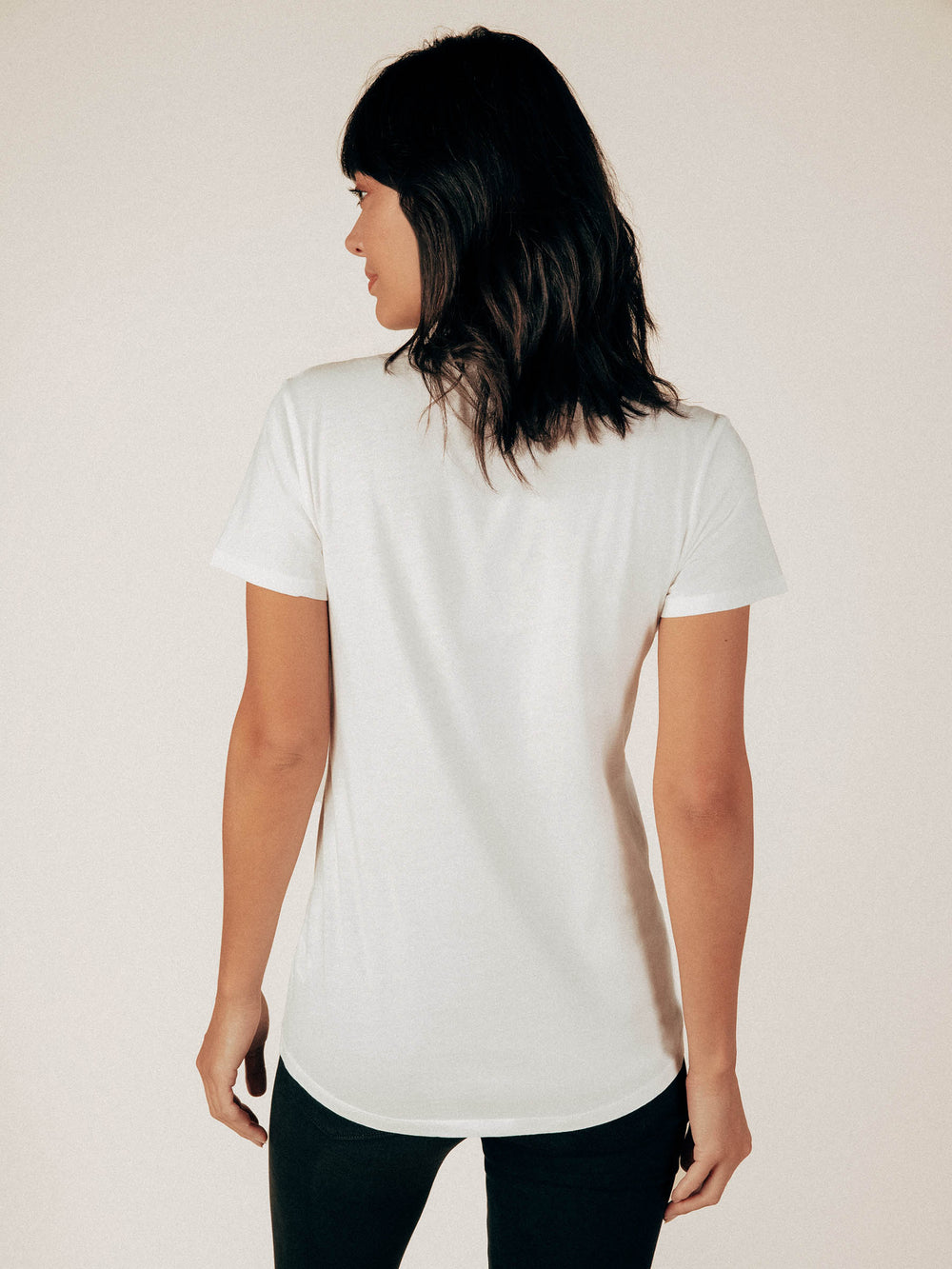 Creamy White Crew Neck Curved Hem Tee - Graceful District