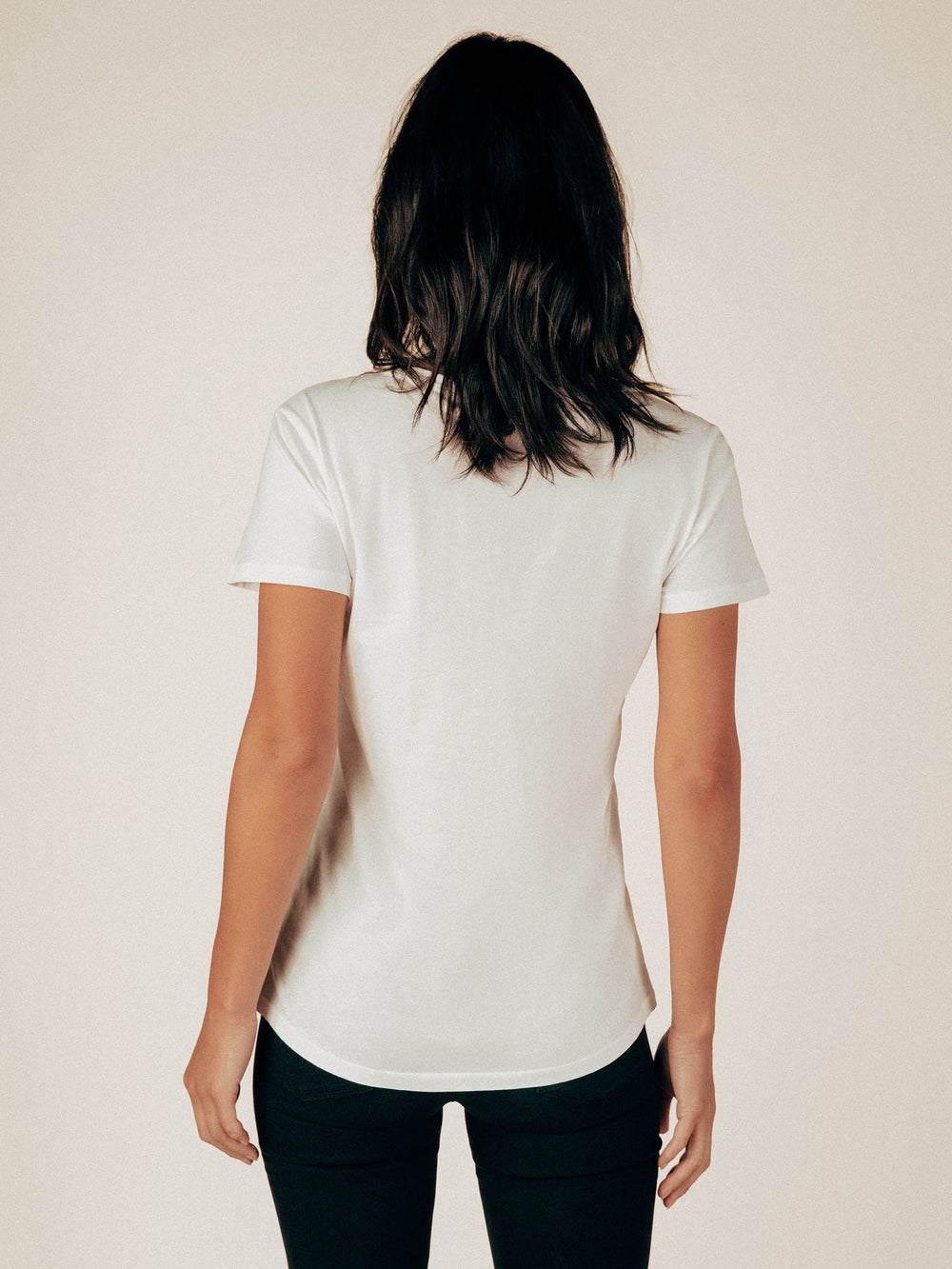 Creamy White V-Neck Curved Hem Tee - Graceful District