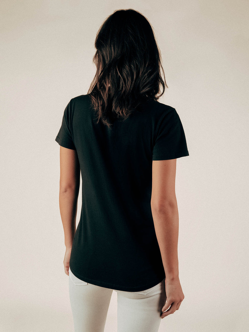 Black V-Neck Curved Hem Tee - Graceful District