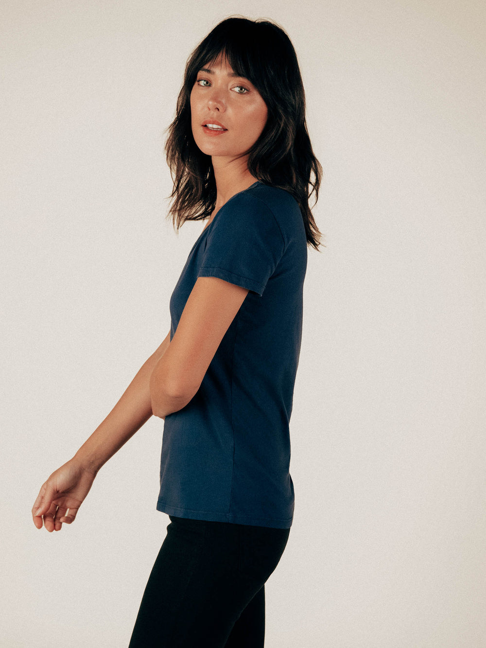 Ink V-Neck Curved Hem Tee - Graceful District