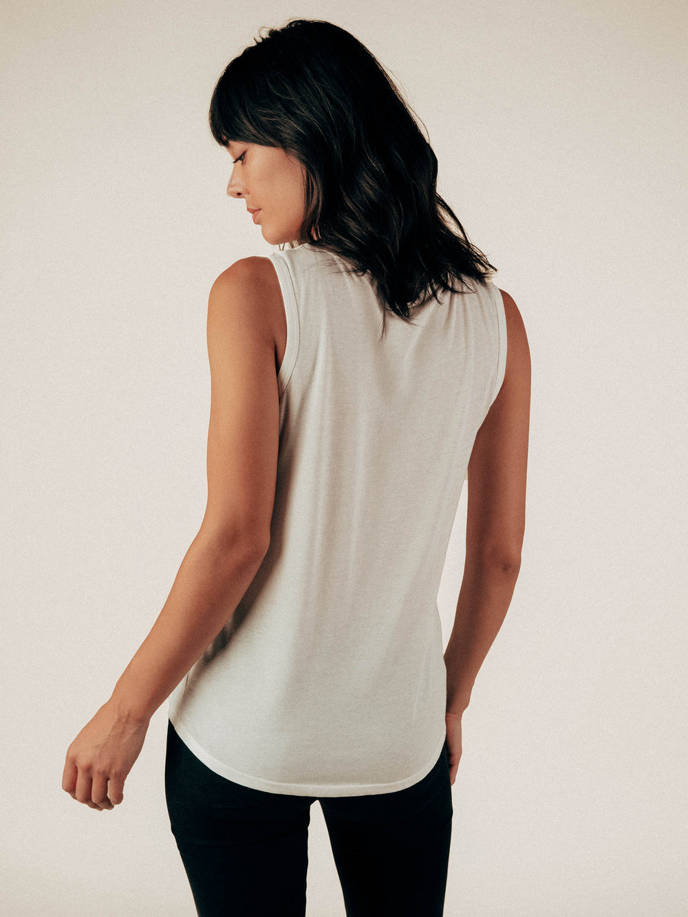 Creamy White Tank Top Curved Hem Tee - Graceful District