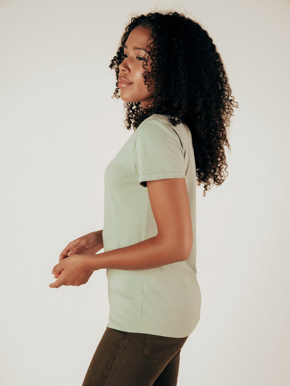 Sage Crew Neck Curved Hem Tee - Graceful District