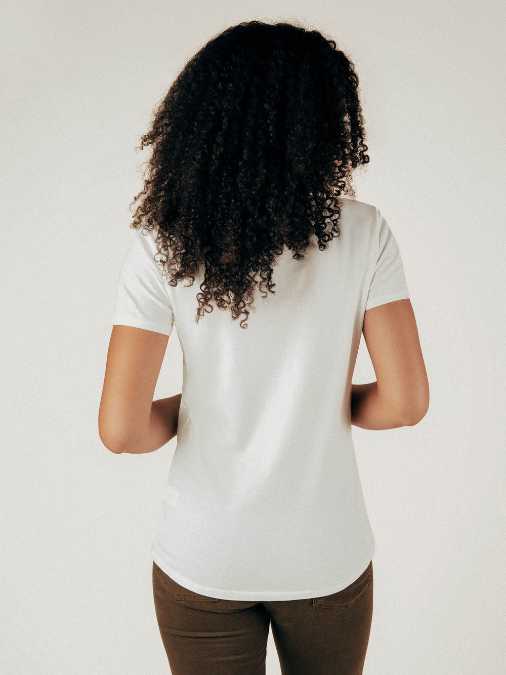 Creamy White Scoop Neck Curved Hem Tee - Graceful District