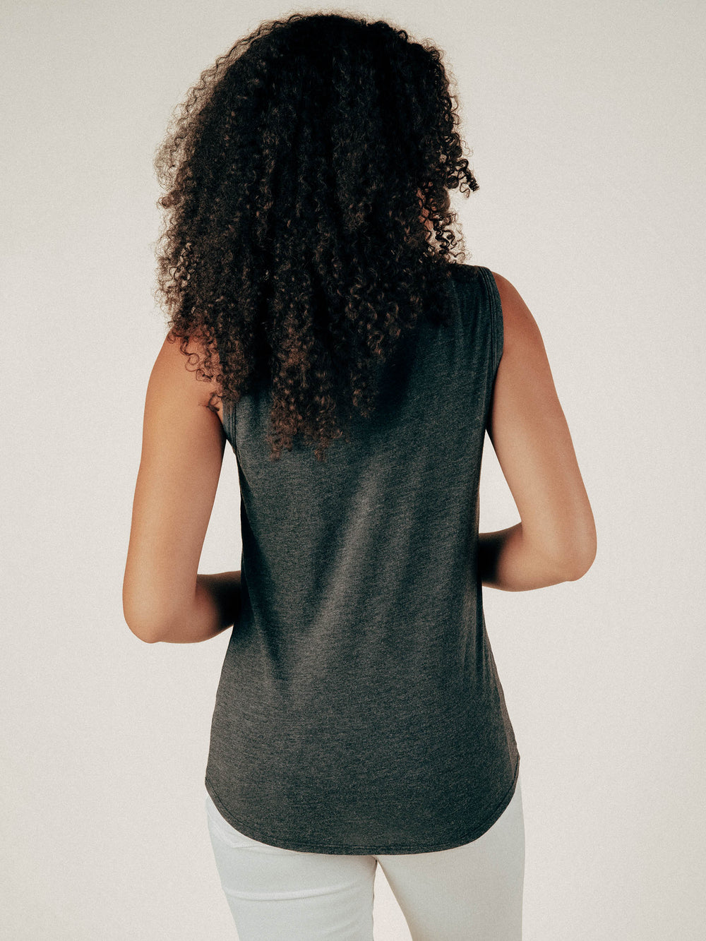 Faded Black Tank Top Curved Hem Tee - Graceful District