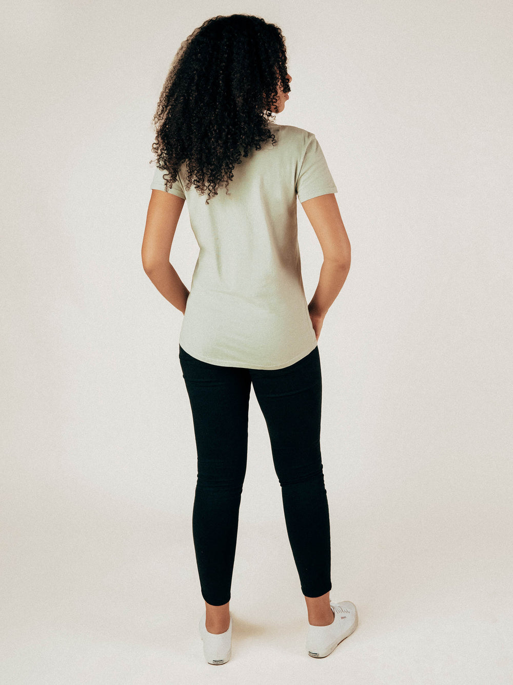 Sage Scoop Neck Curved Hem Tee - Graceful District