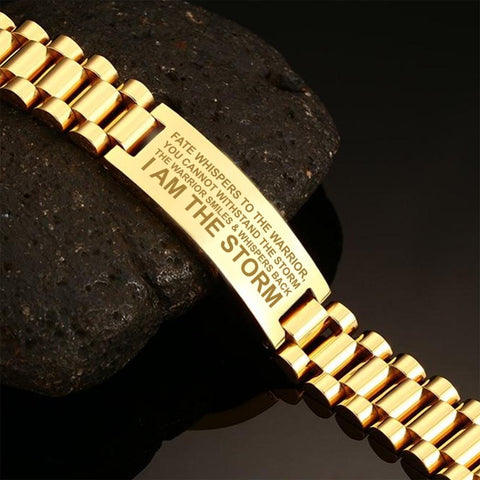 Fate whispers to the warrior, you cannot withstand the storm, Veteran  men's bracelets  bracelet, carthook_checkout, Men Gold Bracelets, meta-related-collection-veterans, meta-related-collect