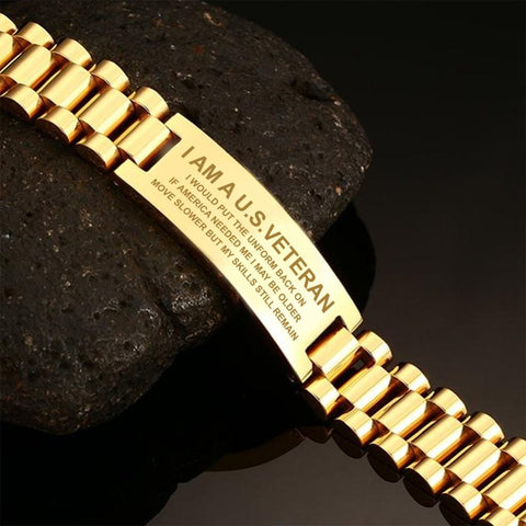 I am a us veteran i would put the uniform men's bracelets  bracelet, carthook_checkout, Men Gold Bracelets, meta-related-collection-veterans, meta-related-collection-vietnam-veteran-bracelets