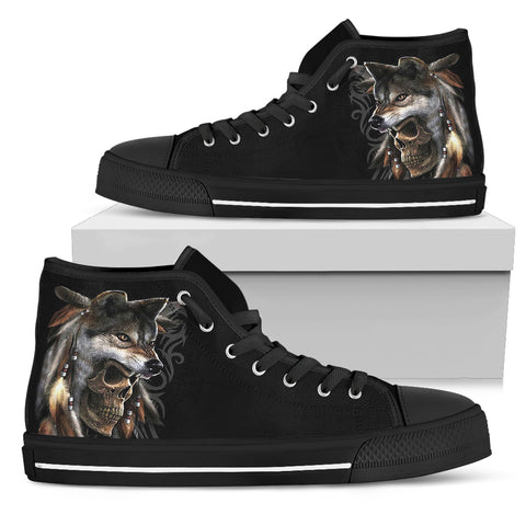 Native American wolf skull shoes  for women  - Nichefamily.com