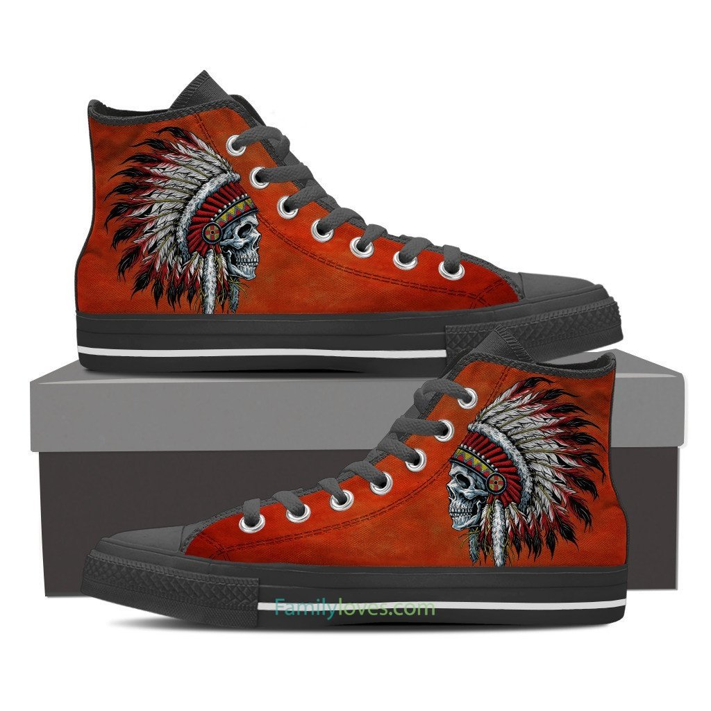 Buy Native American skull shoes on red - Familyloves hoodies t-shirt jacket mug cheapest free shipping 50% off