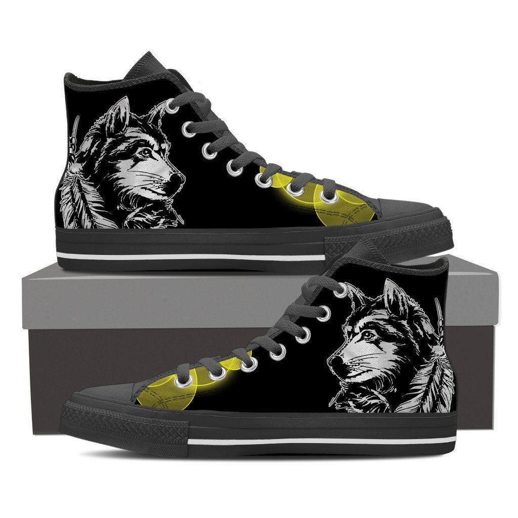NATIVE AMERICAN WOLF HIGH SHOES