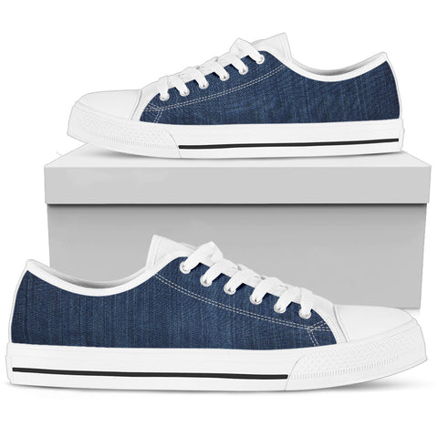 12 Shades of Denim P1 - Women's Low Top Shoes (White)  - Nichefamily.com
