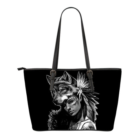 Native American Wolf  Woman Small Leather Bags  Bag, Bags, carthook_checkout, Native, small bag, small bags- Nichefamily.com