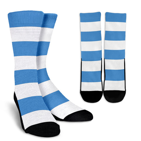 Strip-Blue-White-B-001 Crew Socks  - Nichefamily.com