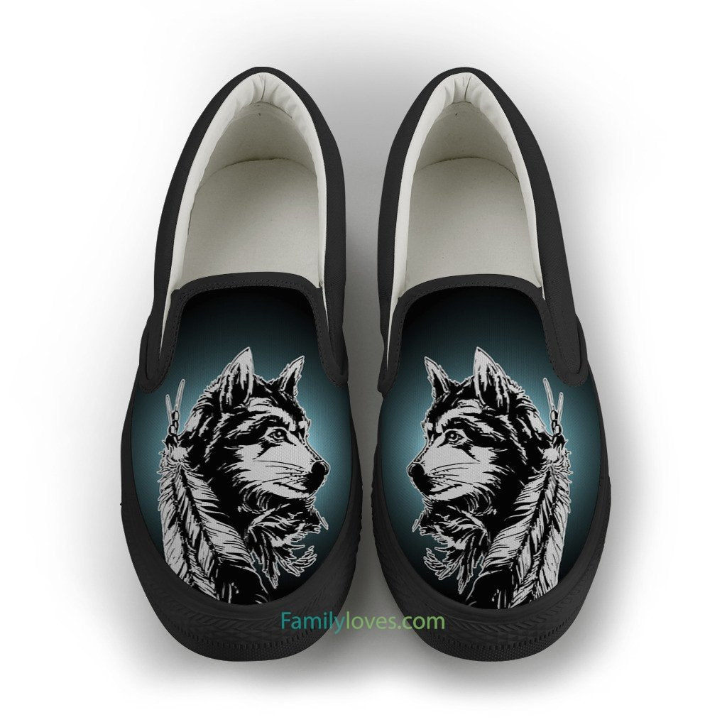 NATIVE AMERICAN WOLF SLIP-ON SHOES