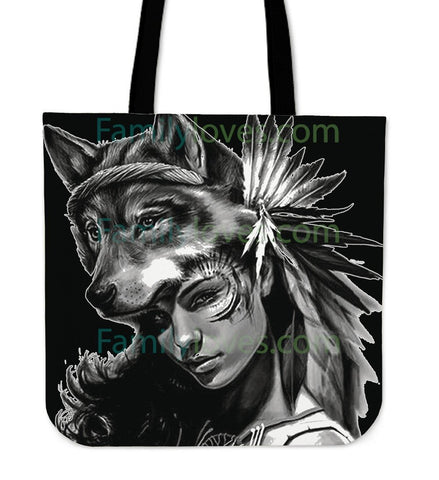 Native American Wolf  Woman Tote Bags  bag, Bags, carthook_checkout, Native, tote bag, Tote Bags- Nichefamily.com