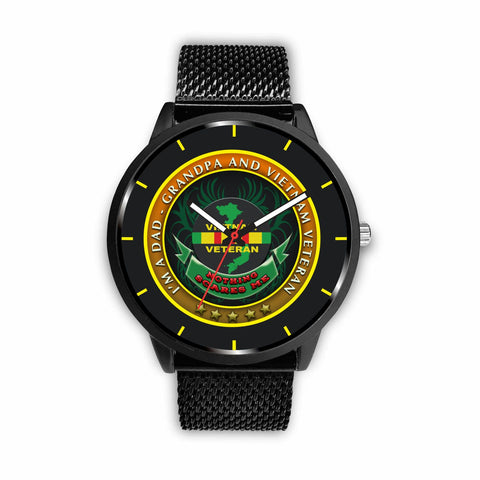 I'M A DAD, GRANDPA AND A VIETNAM VETERAN NOTHING SCARES ME-WATCH Watch carthook_checkout, grandpa, meta-related-collection-watches, meta-related-collection-women-veteran, veteran, vietnam vet