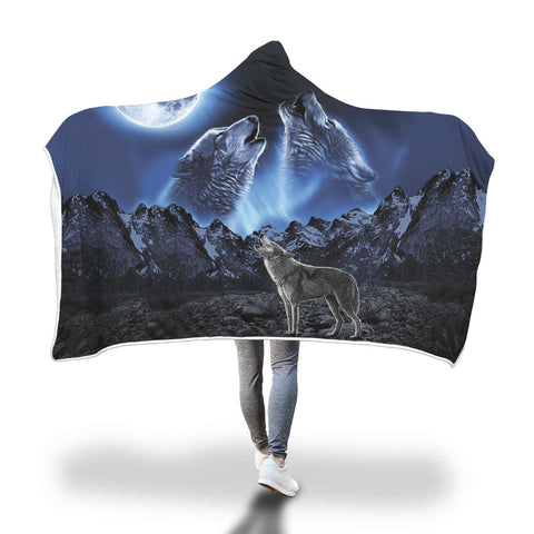 WOLVES HOWLING MOON hooded blanket. Hooded Blanket carthook_checkout, hookedblacket, hookedblanket, native, Native America, Native American- Nichefamily.com