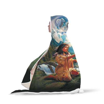 Buy 5D Diamond Painting Native Woman with Dreamcatcher and Wolves Hooded Blanket - Familyloves hoodies t-shirt jacket mug cheapest free shipping 50% off