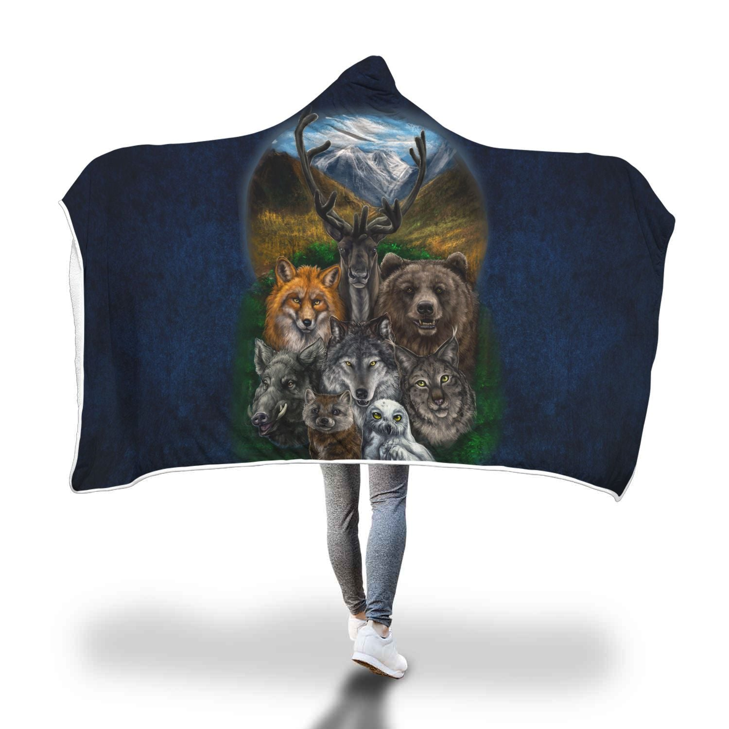 Native American - Bear Wolf Owl Fox 3D Hooded Blanket