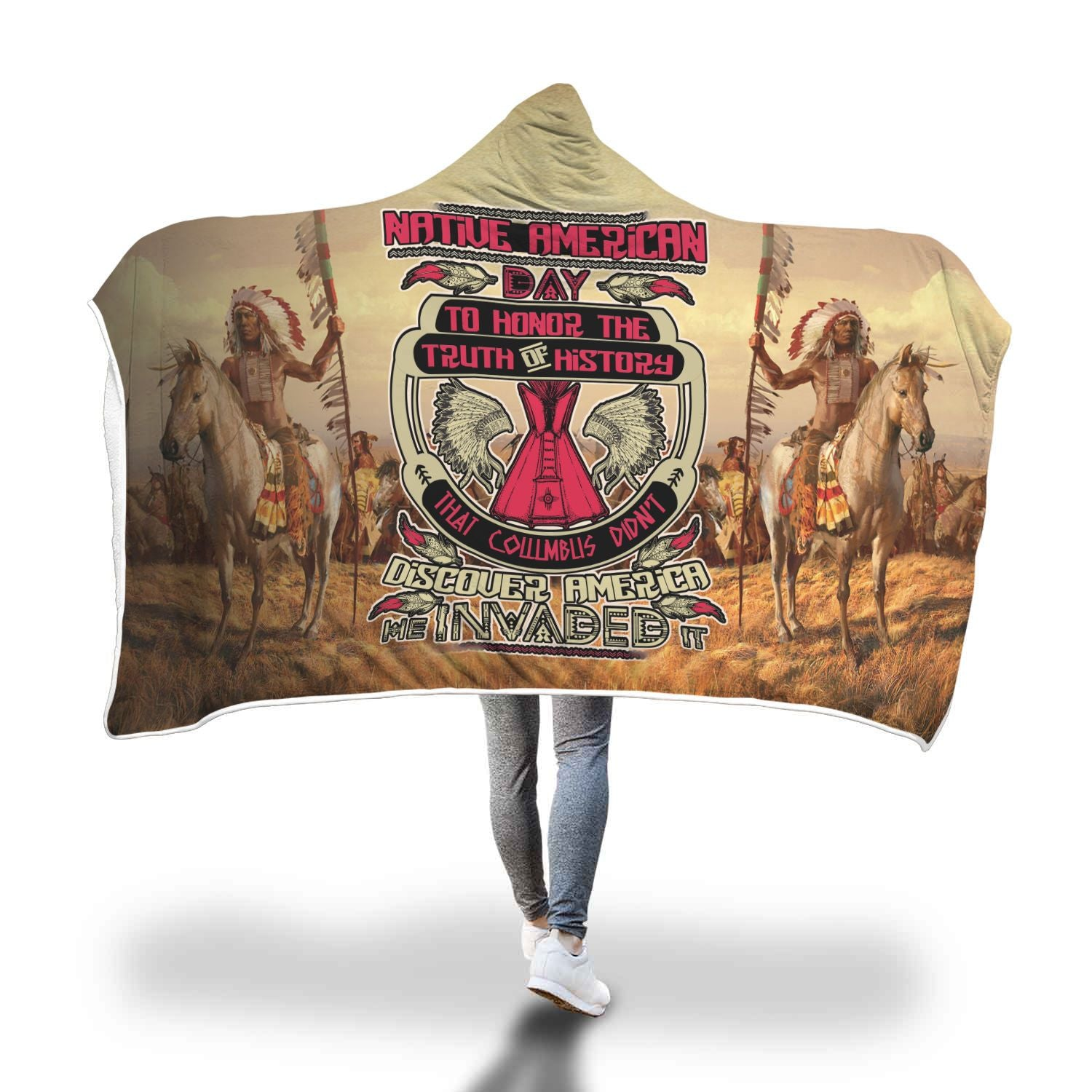 NATIVE AMERICAN DAY TO HONOR... HOODIE BLANKET