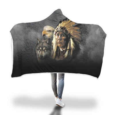 Buy NATIVE AMERICAN INDIAN EAGLE WOLF SPIRIT ANIMALS HOODED BLANKET - Familyloves hoodies t-shirt jacket mug cheapest free shipping 50% off