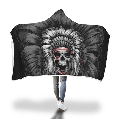 SKULL NATIVE AMERICA HOODED BLANKET
