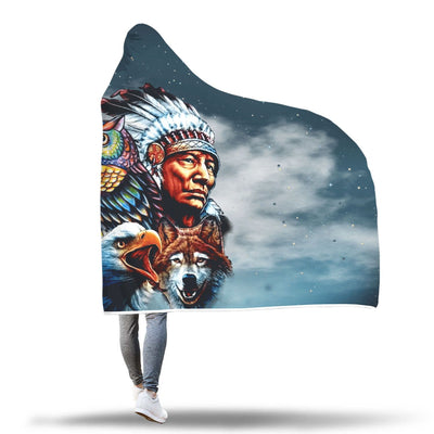 Buy Chief & Spirit Animal Galaxy Background Native American Pride Hooded Blanket - Familyloves hoodies t-shirt jacket mug cheapest free shipping 50% off