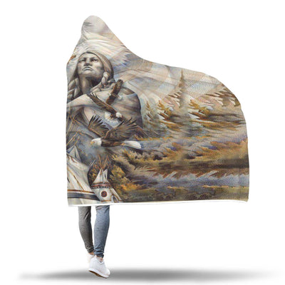 NATIVE AMERICAN EAGLE HOODED BLANKET