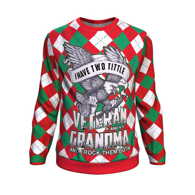 Buy i have two title veteran and a grandma and i rock them both UGLY CHRISTMAS SWEATER - Familyloves hoodies t-shirt jacket mug cheapest free shipping 50% off