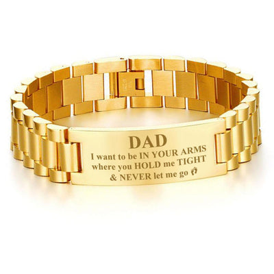 Buy Dad,I want to be in your arms, where you hold me tight and never let me go-men bracelets - Familyloves hoodies t-shirt jacket mug cheapest free shipping 50% off