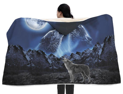 Buy WOLVES HOWLING MOON hooded blanket. - Familyloves hoodies t-shirt jacket mug cheapest free shipping 50% off