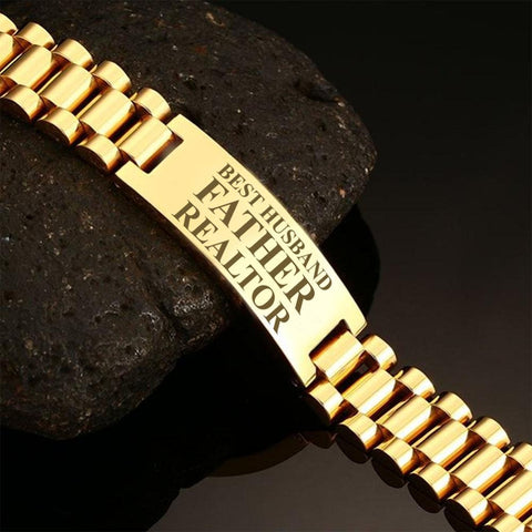 Best husband father realtor-men bracelets  carthook_checkout, dad, family, HUSBAND, jewelry, Men Gold Bracelets, mom, son, wife- Nichefamily.com