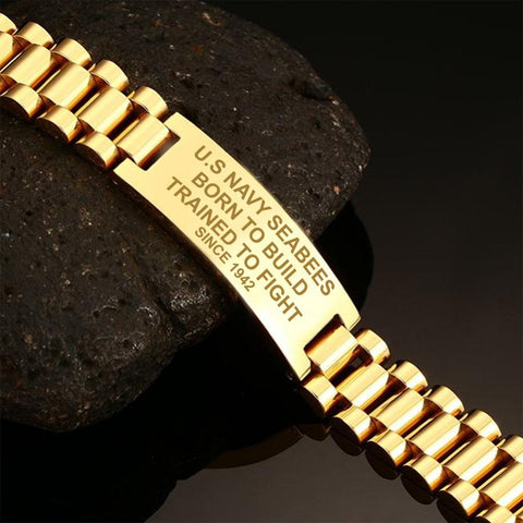 U.S Navy Seabees Born To Build Trained To Fight Since 1942  men's bracelets  bracelet, carthook_checkout, Men Gold Bracelets, meta-relate-collection-u-s-navy-seals, meta-related-collection-ve