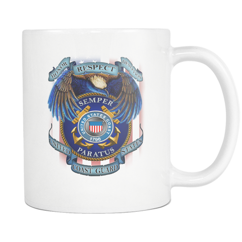 HONOR RESPECT DEVOTION SEMPER PARATUS UNITED STATES COAST GUARD MUG Drinkware carthook_checkout, COAST GUARD, meta-related-collection-army, MILITARY, mug, veteran- Nichefamily.com