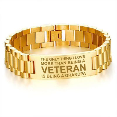 Buy The only thing I love more than being a veteran is being a Grandpa-men's bracelets - Familyloves hoodies t-shirt jacket mug cheapest free shipping 50% off