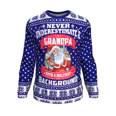 Never underestimate grandpa with a military background ugly christmas sweater