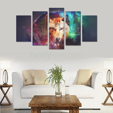 wolf Canvas 5 piece Art Prints carthook_checkout, wolf- Nichefamily.com