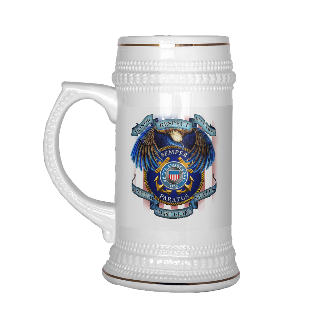 Buy HONOR RESPECT DEVOTION SEMPER PARATUS UNITED STATES COAST GUARD BEER STEIN - Familyloves hoodies t-shirt jacket mug cheapest free shipping 50% off