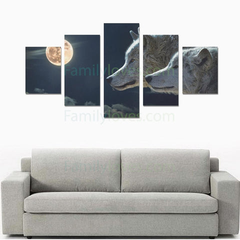 Wolf with Moon Canvas 5 pieces Art Prints canvas, carthook_checkout, wolf- Nichefamily.com