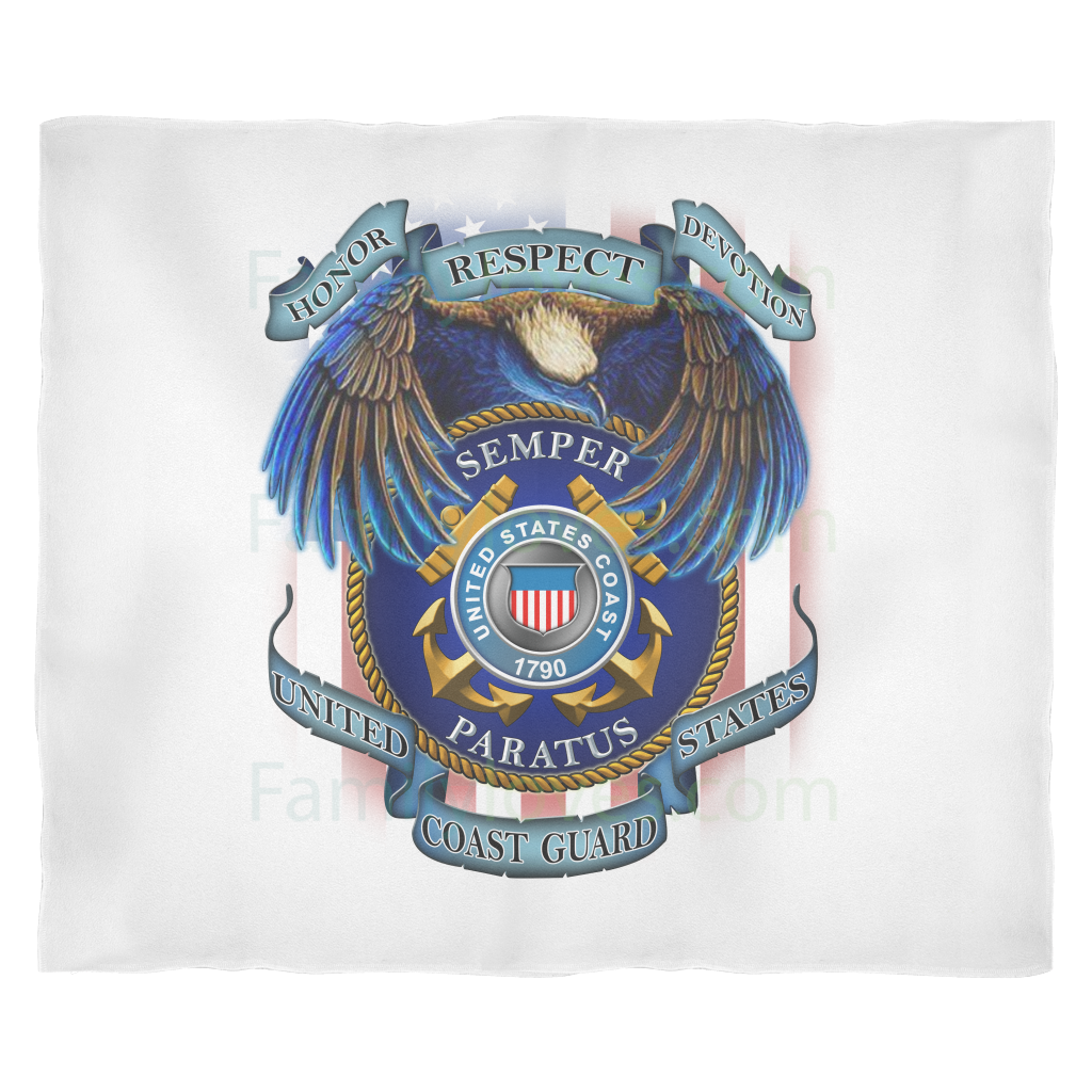 Buy HONOR RESPECT DEVOTION SEMPER PARATUS UNITED STATES COAST GUARD Fleece Blanket - Familyloves hoodies t-shirt jacket mug cheapest free shipping 50% off