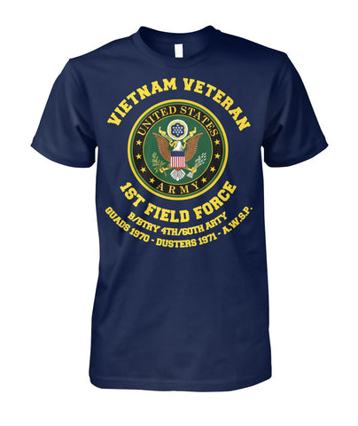 Vietnam veteran 1st field force b btry 4th 60th arty quads 1970 dusters 1971 wp Short Sleeves - Nichefamily.com