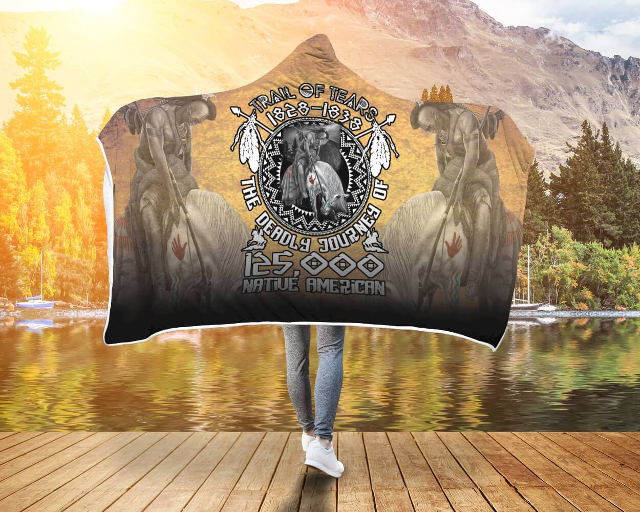 TRAIL OF TEARS 1828-1838 THE DEADLY JOURNEY 125.000 NATIVE AMERICAN hooded blanket