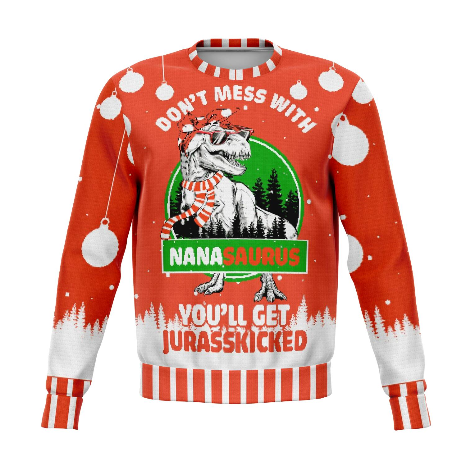 don't mess with nana saurus UGLY CHRISTMAS SWEATER wp
