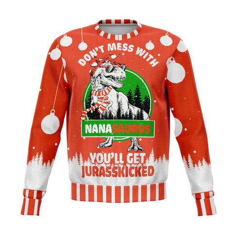 don't mess with nana saurus UGLY CHRISTMAS SWEATER wp Athletic Sweatshirt - AOP - Nichefamily.com