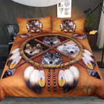 4 Wolves Dreamcatcher Bedding Native American Golden Brown Indian Duvet Cover Vintage Feather Bedding Cover Set  bedding, carthook_checkout, native, Native American- Nichefamily.com