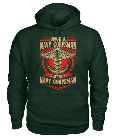 Once a navy corpsman always a navy corpsman wp Hoodies - Nichefamily.com
