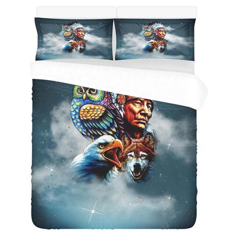 Chief & Spirit Animal Galaxy Background Native American Pride 3-Piece Bedding Set 1 Duvet Cover 2 Pillowcases Bedding Set bedding, carthook_checkout, native, Native America, Native American-